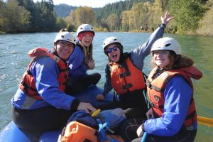 Students on the rafting boat