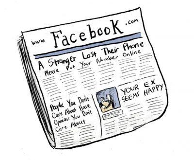 Cartoon newspaper about Facebook