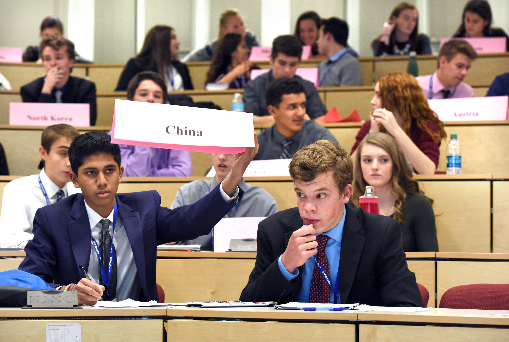 Students above are shown gathering for Model UN.