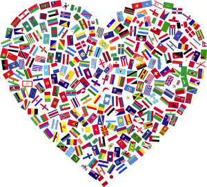 A heart made of different national flags