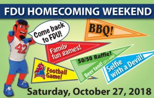 FDU Homecoming Weekend event sign with dates and flags