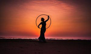 Dancing with a hula hoop