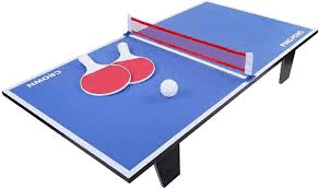 table tennis table, rackets and ball