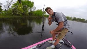 Man bass fishing on a river.