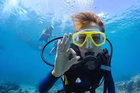 A man scuba diving.