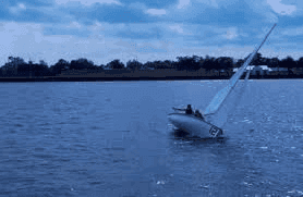 A person sailing.