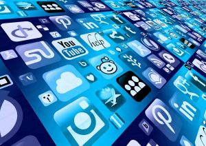 A platform with different social media logos such as twitter and facebook