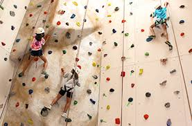 people climbing on a rock climbing wall