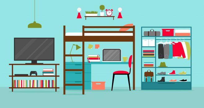 College Dorm Room Setting