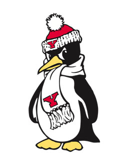 The penguin mascot at Youngstown
