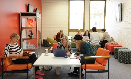 Librarian offering research help to students