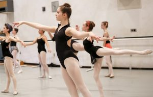 Female students during a ballet class
