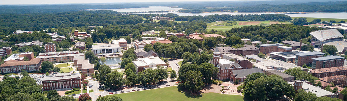 An aerial view of Clemson University