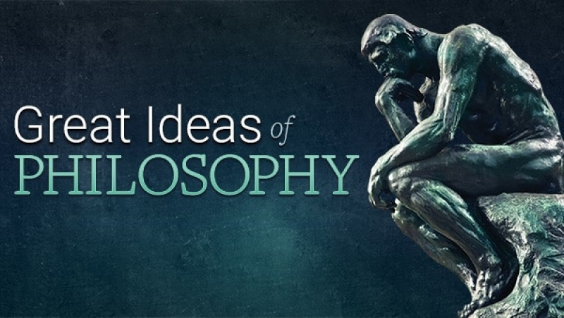 """image of sculpture of """"think"""" and says great ideas of philosophy"""