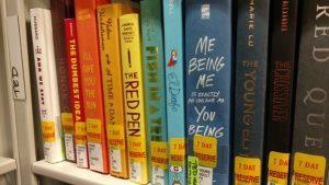 several books on a shelf