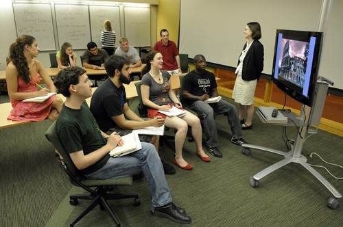 Students with faculty in a library instruction session