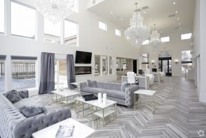 Grey lounge of the Metcalf Apartments