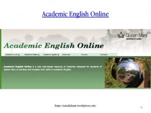 The front page of Queen Mary's Academic English Online website