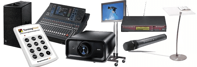 microphone, video beam, monitor, sound system, tripod (audiovisual equipment)