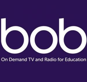 'BOB on-demand TV and Radio for education' logo in white on a purple background