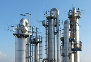 picture of distillation columns in a chemical plant
