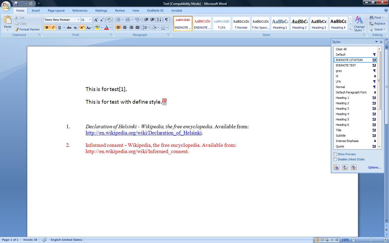 Word document illustrating citation method