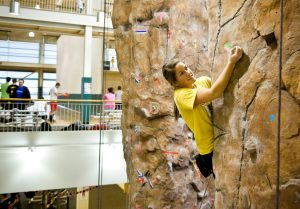 Inside one of the NDSU climbing walls
