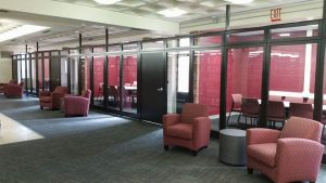Study rooms on the second floor of the library