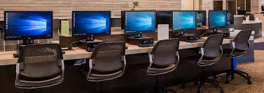 Computers turned on in a computer lab