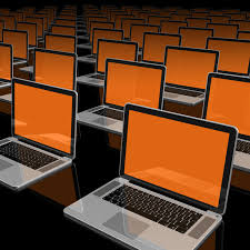 Computers arranged in the lab