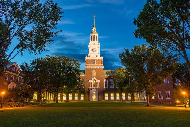 The night view at Dartmouth College