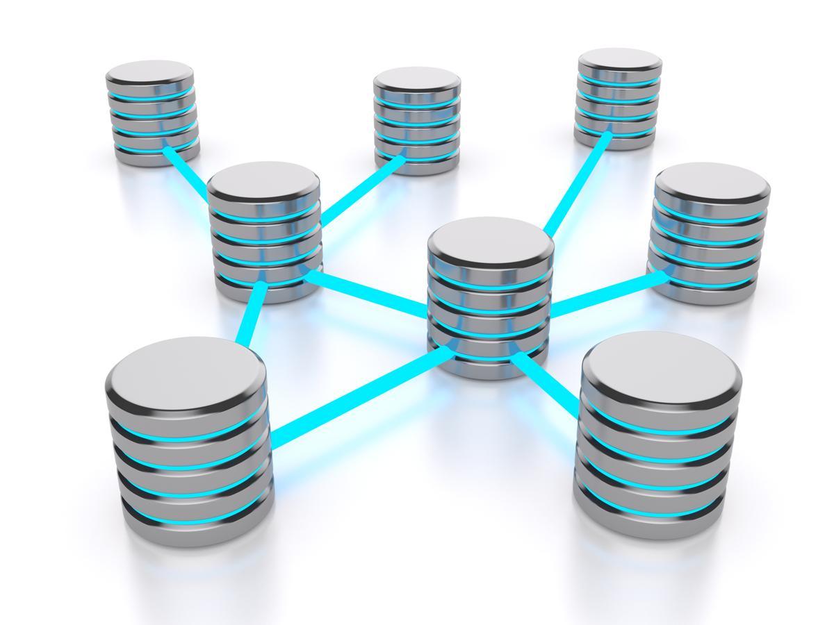 Interlinked data hubs of a database