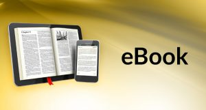 A tablet and a phone displaying an e-book