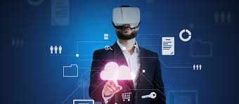 A person using virtual reality gadgets