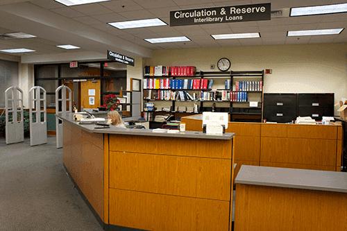 Librarian desk where students borrow and return books