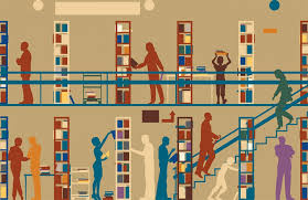 An illustration of students borrowing books at the library