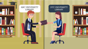 Cartoon illustration of a student borrowing a book from a different University