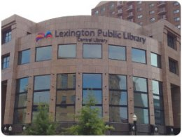 Front view of the Lexington Library