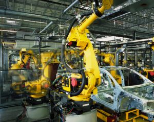 Picture of a car assembly line robot