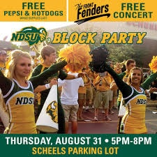 A poster for the NDSU SCHEELS Bison Block Party