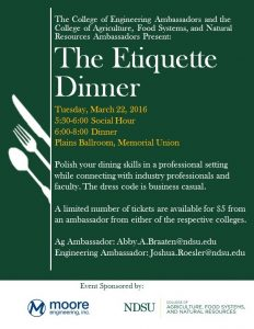 A poster for the Etiquette Dinner Event