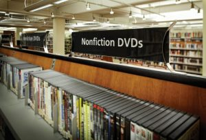 Non-fictional DVDs at the library shelf