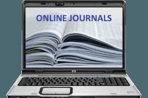 A laptop with its screen written Online Journals