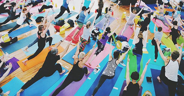People in a yoga class