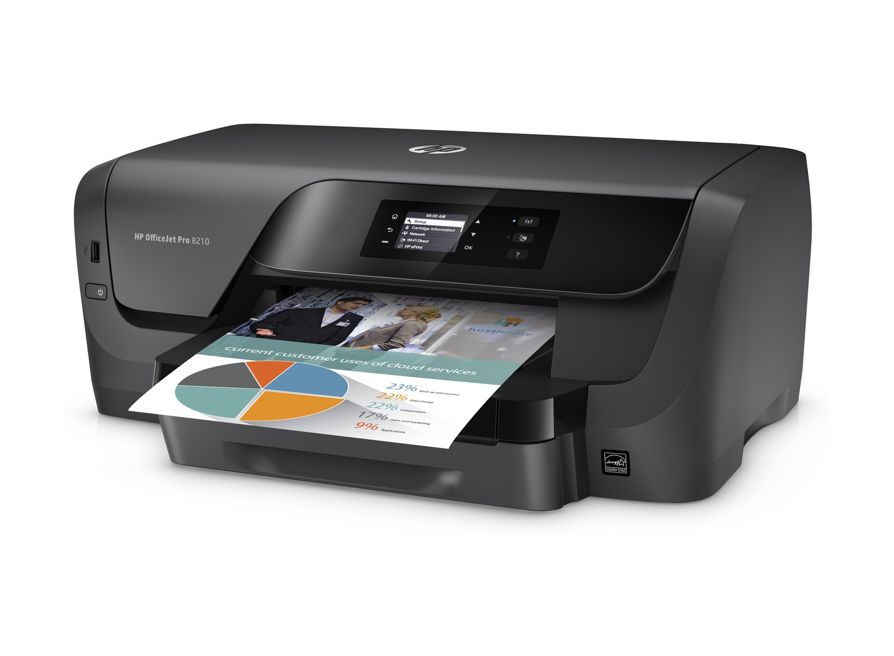 A printer with a document ready.