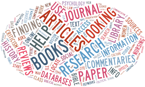 Word cloud with words related to research writing