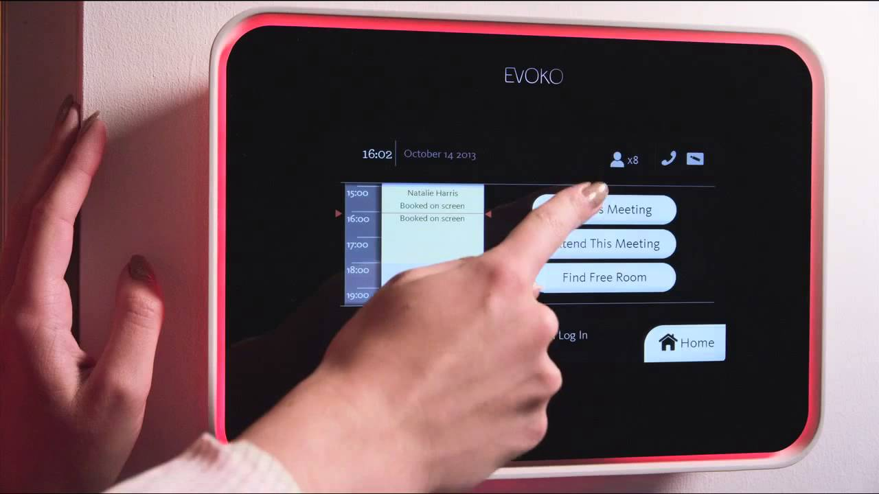 A touch screen computer for room booking