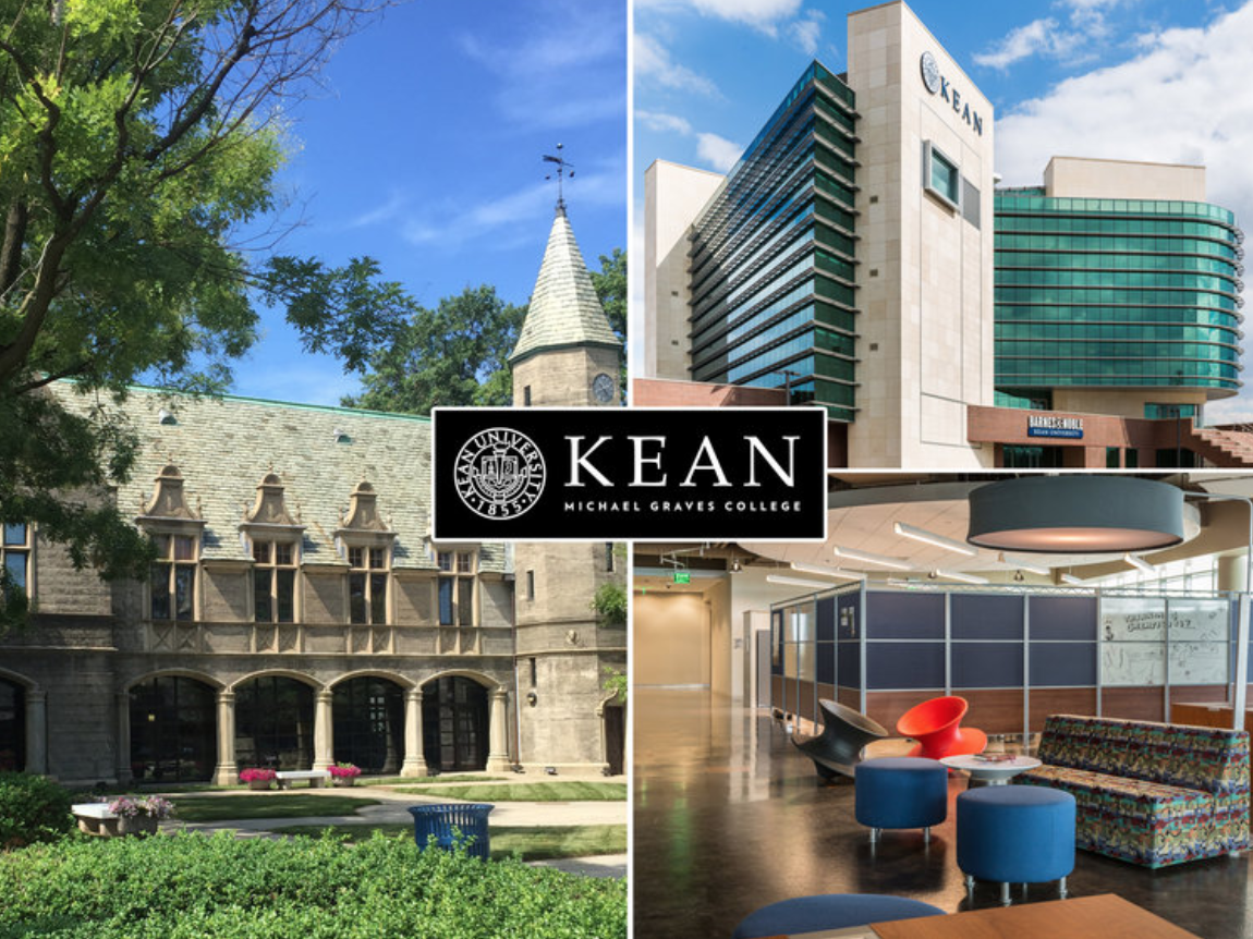 3 images of different buildings at Kean University