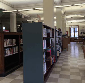 Bookshelves in this library