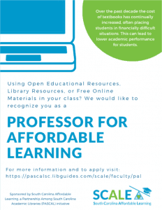 A flier encouraging professors to be a part of the affordable learning program